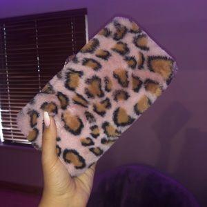 Furry cheetah print clutch
